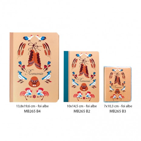 Agenda nedatata, Elemente traditionale, foi albe, 13,8 x 19,6 cm, 144 pg, MB265 B4