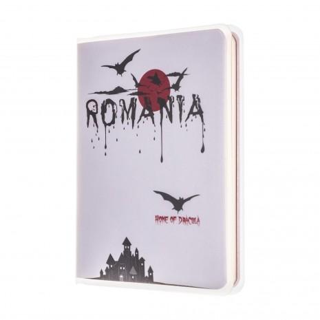 Agenda nedatata, de buzunar, Dracula, foi albe, 7 x 10,3 cm, 120 pg, coperta transparenta, MB247 B3