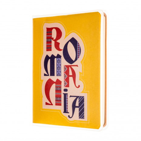 Agenda nedatata de buzunar, Romania, fundal galben, foi albe, 7 x 10,3 cm, 120 pg, coperta transparenta, MB262 Y3