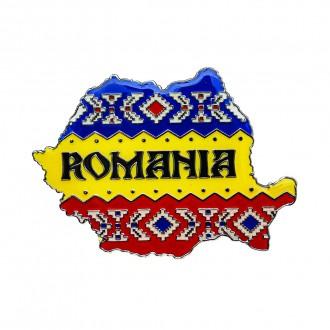 Magnet de frigider, harta Romaniei tricolor, MB046