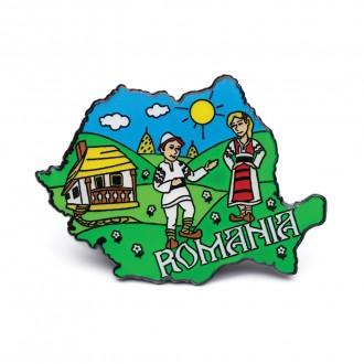 Magnet de frigider - suvenir Romania, verde,  MB047