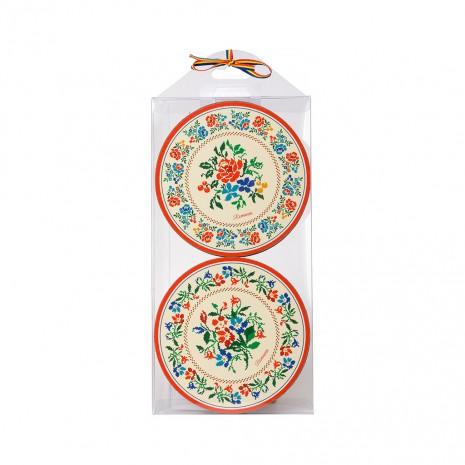 Set 4 suporturi de pahare - cadou/suvenir traditional, Motive Florale MB134