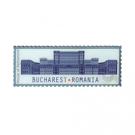 Magneti de frigider - suvenir Bucuresti, fundal albastru, MB278