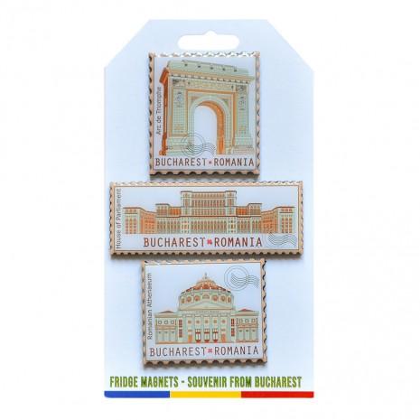 Magneti de frigider - suvenir Bucuresti, fundal verzui, MB280