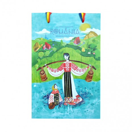 Punga din hartie - Cadou traditional Romania, Peisaj Pitoresc, 15 x 23 x 8,5 cm, MB218 D1
