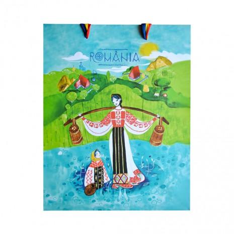 Punga din hartie - Cadou traditional Romania, Peisaj Pitoresc, 22 x 28 x 10 cm, MB218 D3