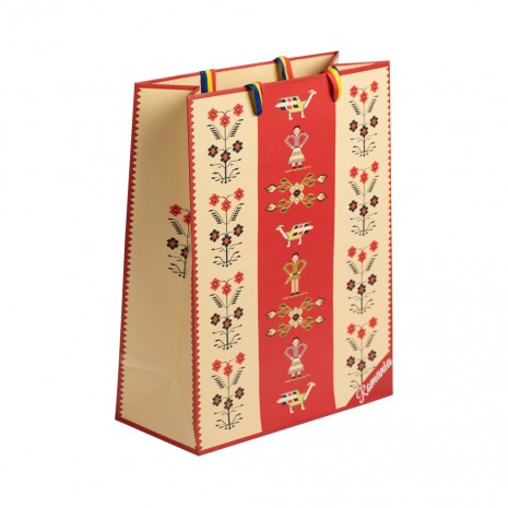 Punga din hartie - Cadou traditional Motive florale, 22 x 28 x 10 cm, MB223 D3