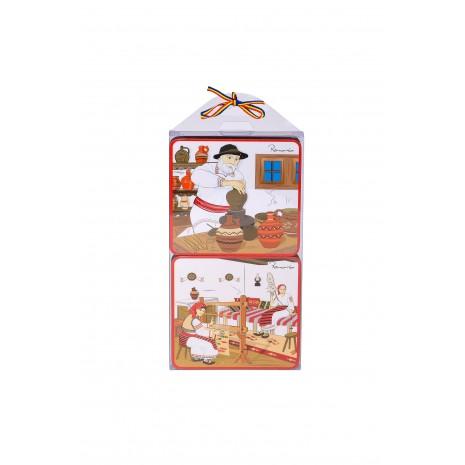 Set 4 suporturi de pahare - cadou/suvenir traditional, Mestesuguri, MB025