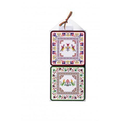 Set 4 suporturi de pahare - cadou/suvenir traditional, Cusaturi Romanesti, MB112