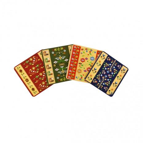 Set 4 suporturi de pahare - cadou/suvenir traditional, Covor Romanesc, MB028