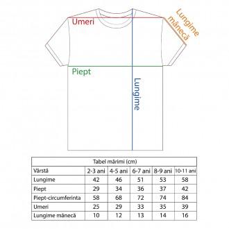 Tricou pentru copii, Romania, Tricolor, 100% bumbac, MB195