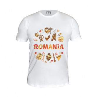 Tricou - cadou Romania, Motive Populare, 100% bumbac, MB185