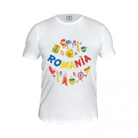 Tricou - cadou Romania, Motive Populare, 100% bumbac, MB190